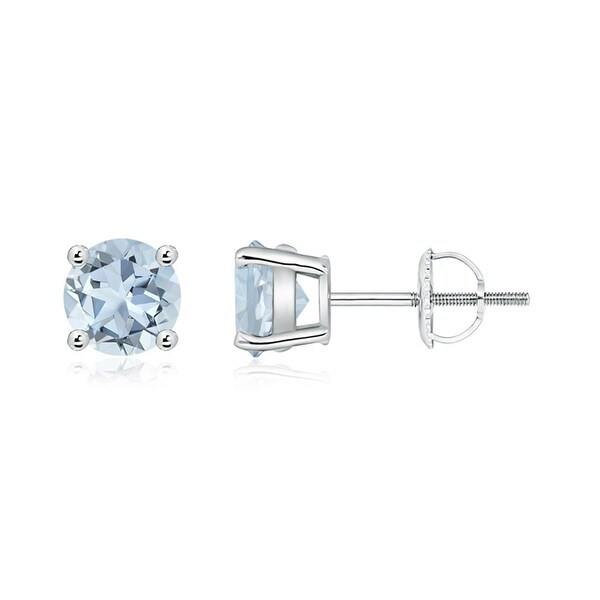 Angara Prong Set Aquamarine Stud Earrings in Platinum QGsCndu
