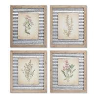 """Set of 4 Assorted Spring Botanical Floral Print Wall Art with Wooden Frame 16"""" - Gold"""