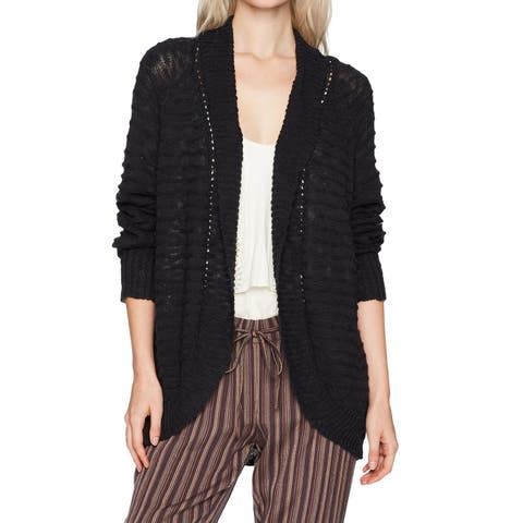 Roxy Black Womens Size XS Let's Go Anywhere Chunky-Knit Cardigan