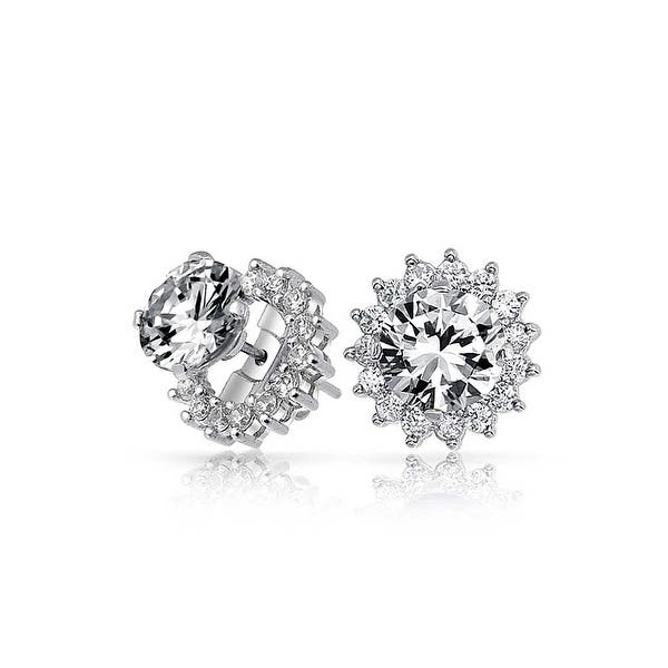 a935b2896 Shop Brilliant Cut 1 CT CZ Solitaire Removable Cubic Zirconia Halo Jacket  CZ Stud Earrings For Women 925 Sterling Silver - On Sale - Free Shipping On  Orders ...