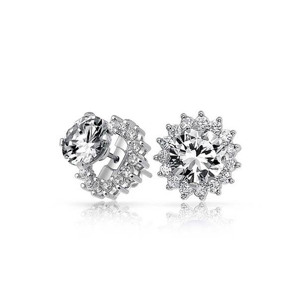 Brilliant Cut 1ct Cz Solitaire Removable Cubic Zirconia Halo Jacket Stud Earrings For Women 925 Sterling Silver