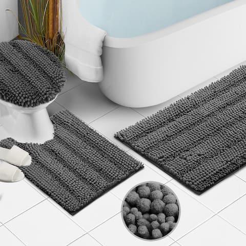 Clara Clark Chenille Extra Soft and Absorbent Bath Mat - Non Slip Fast Drying Bath Rug Set