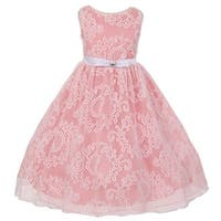 Girls Pink White Lace Overlay Organza Flower Girl Vintage Flair Dress 8-12