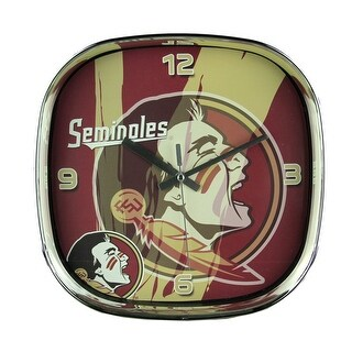 Florida State University Seminoles Glass Face Wall Clock Chrome Finished Frame - Red