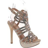 De Blossom Gap-28 Bridal Formal Evening Party Ankle Strap High Heel Peep Toe Glitter Sandal