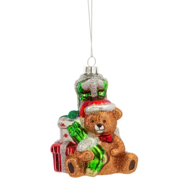 """Pack of 6 Glitter Teddy Bear with Presents Glass Christmas Ornament 4.5"""""""