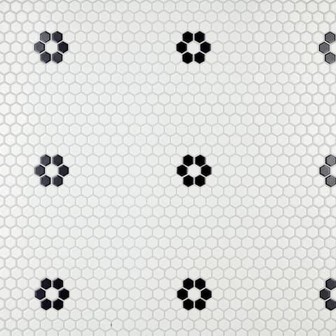 "SomerTile Metro Hex Matte White with Single Flower 10.25"" x 11.86"" Porcelain Mosaic Tile"