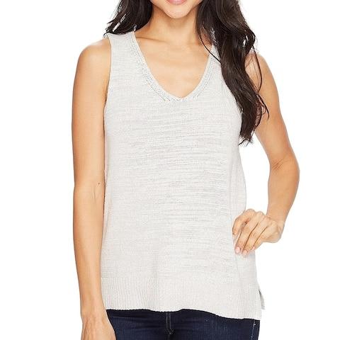 Lilla P Women's Sweater Beige Size XL Knit Vest Split-Hem V-neck
