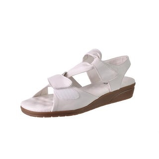 Walking Cradles Womens Valerie Leather Mini Wedge Strappy Sandals
