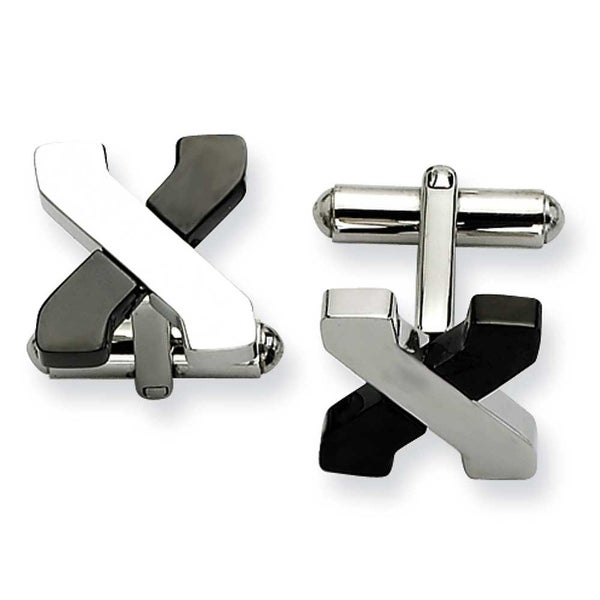 Chisel Stainless Steel Black IP and Poilshed Cuff Links