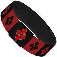 "Harley Quinn Diamond Blocks Red Black Red Elastic Bracelet   1.0"" Wide"