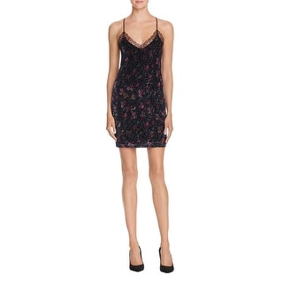 Aqua Womens Slip Dress Velvet Lace Trim