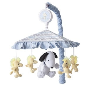 Lambs & Ivy My Little Snoopy Musical Baby Crib Mobile - Blue, Gray, White, Snoopy, Modern, Puppy, Boy