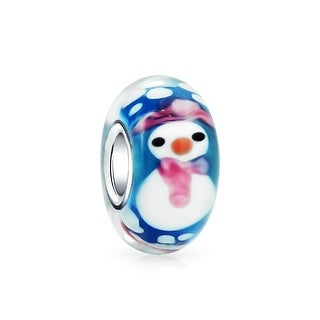 Bling Jewelry Sterling Silver Murano Glass Christmas Snowman Bead Charm