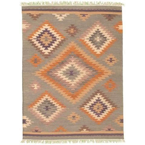 ECARPETGALLERY Flat-weave Anatolian FW Grey Wool Kilim - 4'2 x 6'0
