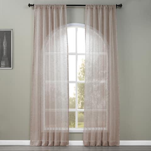 Exclusive Fabrics Open Weave Cinder Grey Linen Sheer Curtain Panel