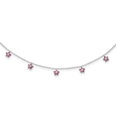 Sterling Silver Rhodium-plated Clear and Red Cubic Zirconia with 2-inch Extension Choker Necklace by Versil