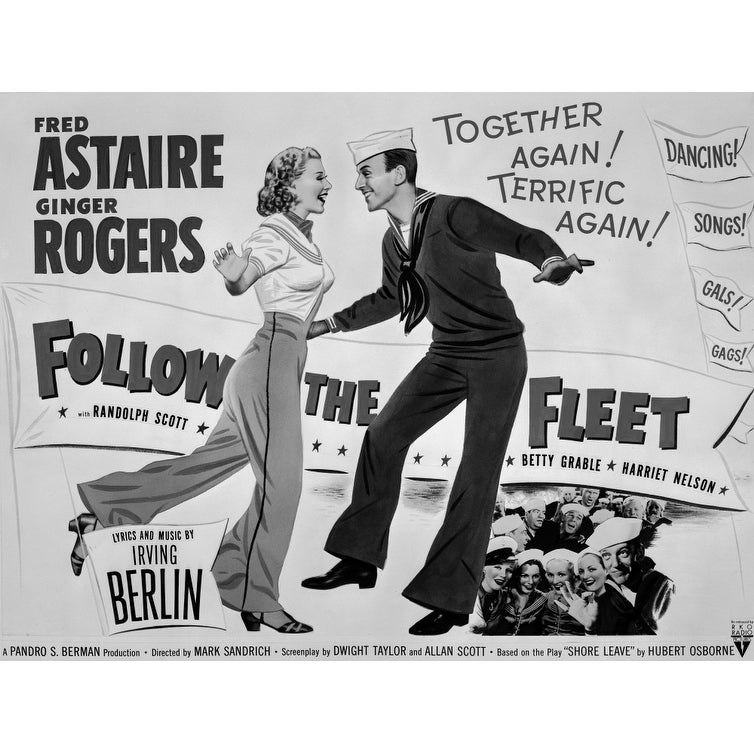 Shop Fred Astaire And Ginger Rogers Follow The Fleet Movie Poster Photo Print Overstock 25388313