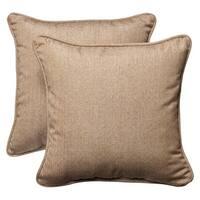 "Set of 2 Outdoor Patio Square Throw Pillows 18.5"" - Textured Tan Sunbrella"