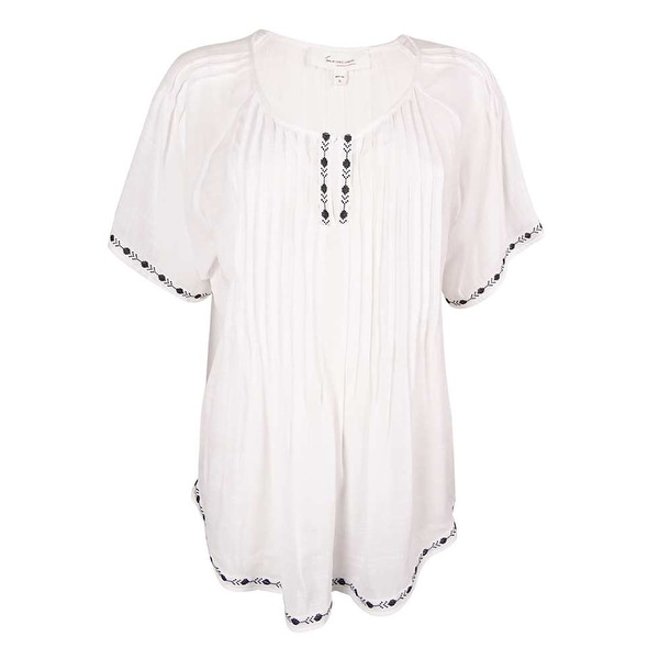 4bf4112d1b Shop Two by Vince Camuto Women s Embroidered Pintuck Peasant Blouse - Ultra  White - M - Free Shipping On Orders Over  45 - Overstock - 16148455