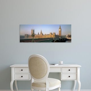 Easy Art Prints Panoramic Image 'Westminster Bridge, Big Ben, Houses of Parliament, Thames, London, England' Canvas Art