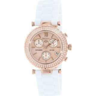 Precimax Women's Lily Elite Crystal PX13376 White Ceramic Quartz Fashion Watch