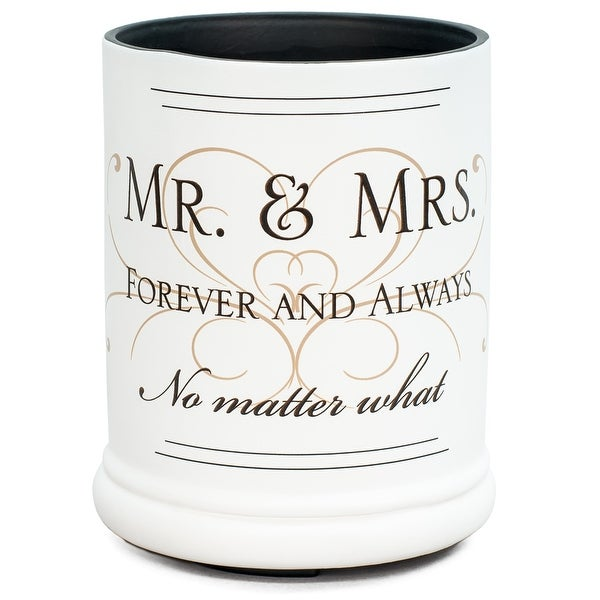 """6"""" White and Brown """"MR. & MRS."""" Printed Cylindrical Candle Warmer - N/A"""