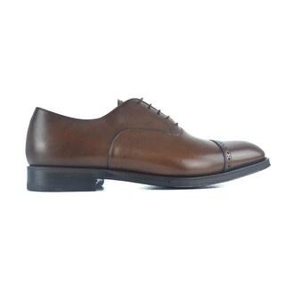 Sutor Mantellassi Mens Brown Leather Captoe Handmade Oxfords Dress Shoes