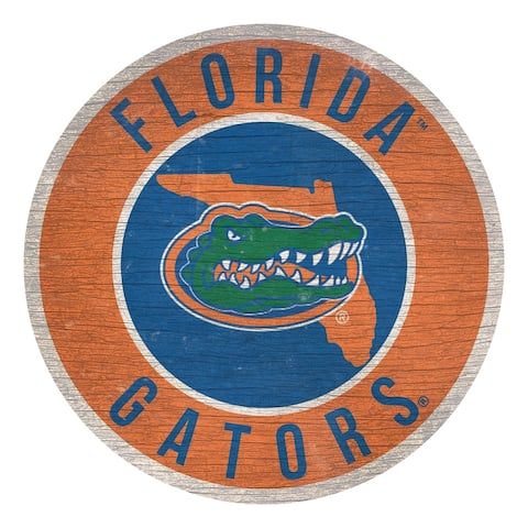 Florida Gators Sign Wood 12 Inch Round State Design