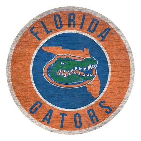 Florida Gators Sign Wood 12 Inch Round State Design