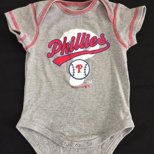 reputable site 7c407 4a216 Philadelphia Phillies Baby Outfit Boys 6/9M Months One Piece Logo Gray
