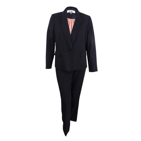 Le Suit Women's Pant Suit Black Size 8 Pinstripe 3-Piece Shawl Collar