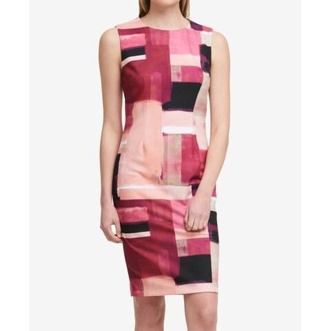 DKNY Pink Women's Size 8 Colorblock Sleeveless Sheath Dress