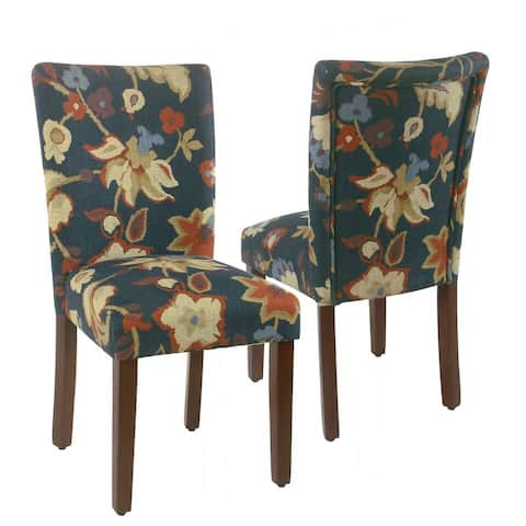 HomePop Parsons Dining Chair -Navy Floral - set of 2