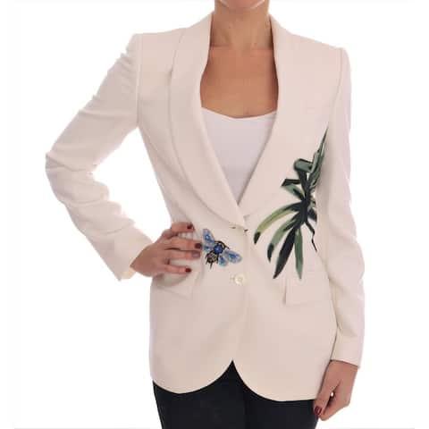 White Wool Crystal Blazer Women's Jacket