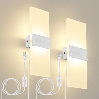 2-Light Brush Aluminium Wallchiere Sconce Light Set of 2