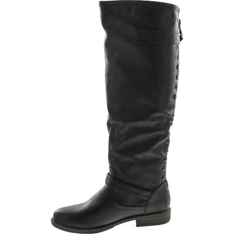 Montage83 Brown Crp Contrast Zipper Metal Stud Buckle Riding Boot