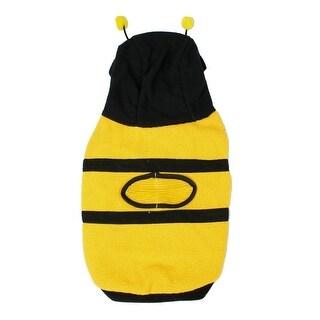 Xmas Yellow Black Fleece Bee Design Hooded Chihuaha Dog Coat Pet Clothes S