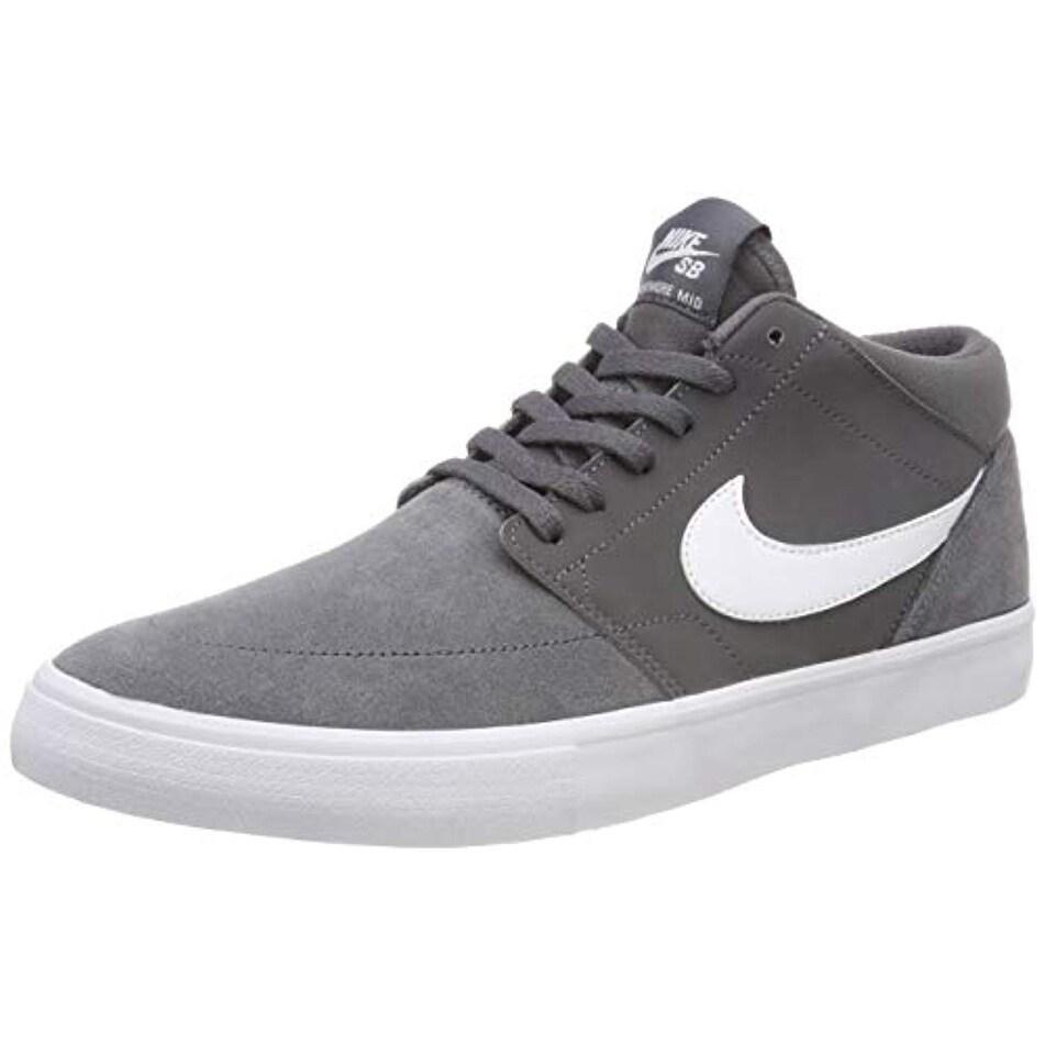 Nike Sb Solarsoft Portmore Ii Mid Men's Skate Shoes (12 D(M) Us, Dark Gray  White)