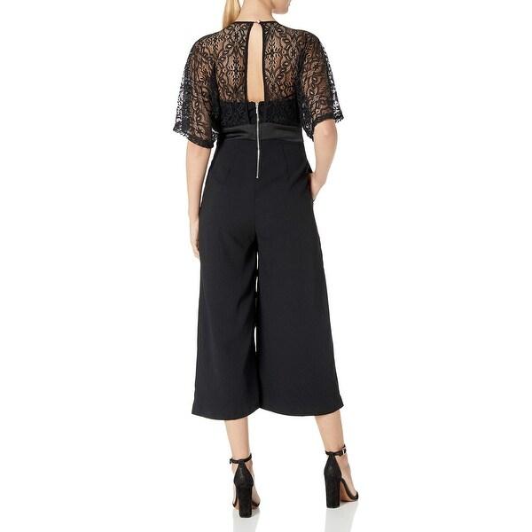 XOXO Womens Crepe Kimono Lace Jumpsuit