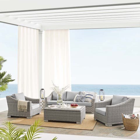 Conway Sunbrella® Outdoor Patio Wicker Rattan 4-Piece Furniture Set