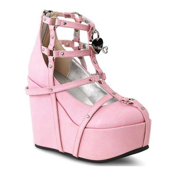 419be810374c Shop Demonia Women s Poison 25 2 Wedge Pink Vegan Leather - Free Shipping  Today - Overstock - 14675312