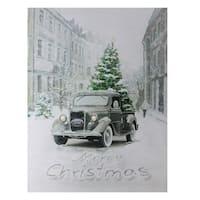 "Fiber Optic Lighted Ford Truck Merry Christmas Canvas Wall Art 15.75"" x 12"" - Green"