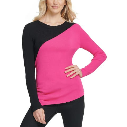DKNY Women's Colorblocked Asymmetrical Sweater Black Size Extra Large