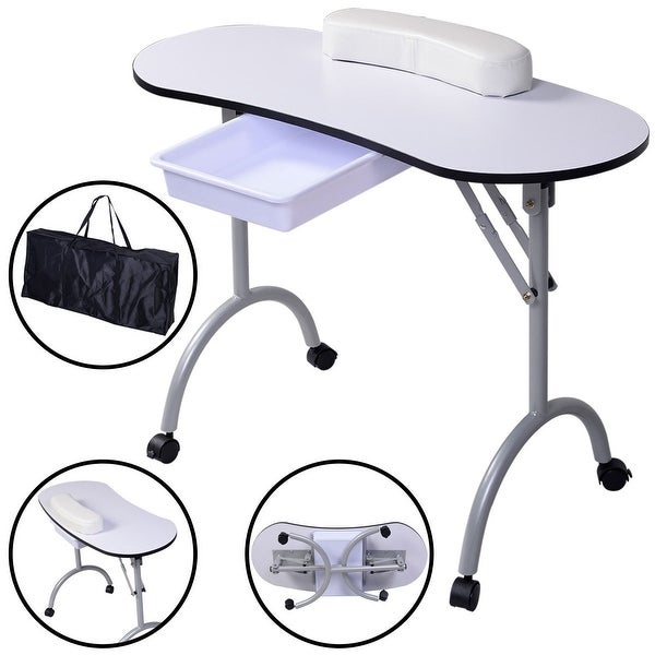 Shop Costway Portable Manicure Nail Table Station Desk Spa Beauty ...