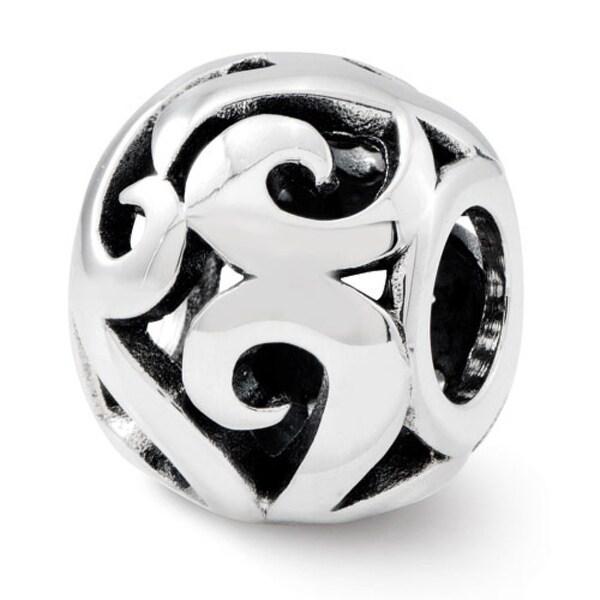 Sterling Silver Reflections Swirl Bali Bead (4mm Diameter Hole)