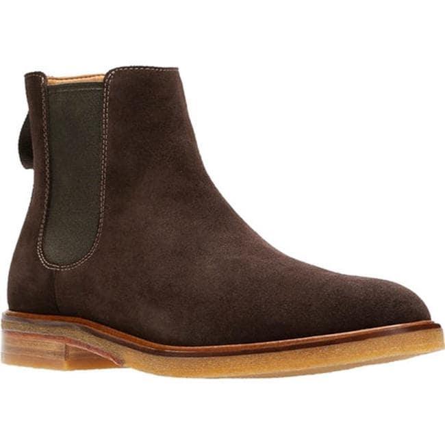 on feet images of custom online Clarks Men's Clarkdale Gobi Chelsea Boot Dark Brown Suede