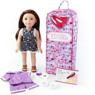 Playtime by Eimmie 18 Inch Doll Includes Backpack Carrying Case, Two Outfits, Slippers and Eye Mask