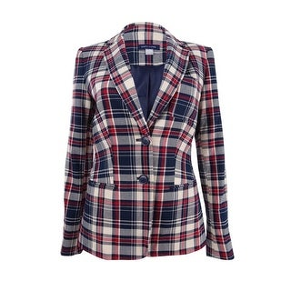 Tommy Hilfiger Women's Plaid Two-Button Blazer - midnight multi
