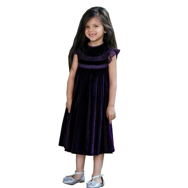 d4486668384b Shop Girls Vintage Purple Lace Tulle Smock Magnolia Flower Girl Dress -  Free Shipping On Orders Over $45 - Overstock - 25542381